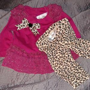 Dark fuchsia and leopard nwot